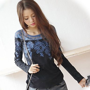 Handuxiangshe Women's Chinese Style Splicing Cut Out Mesh Round Collar Long Sleeve Fitted Shirt(Black) – USD $ 15.99