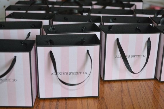 Pink stripe party favor bags in pink sweet 15 by SandysCandyBags