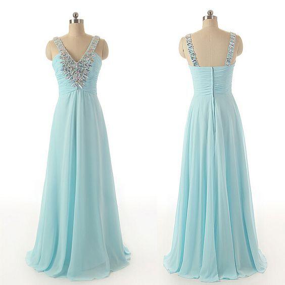 V-neck prom dress,long prom dress,beautiful beading prom dress,simple prom dress, chiffion prom dress,high quality prom dress,elegant wowen dress,party dress,evening dress L550