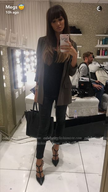 d6114dcd343b Megan McKenna wearing Valentino Noir Rockstud Leather Slingbacks  https   api.shopstyle.