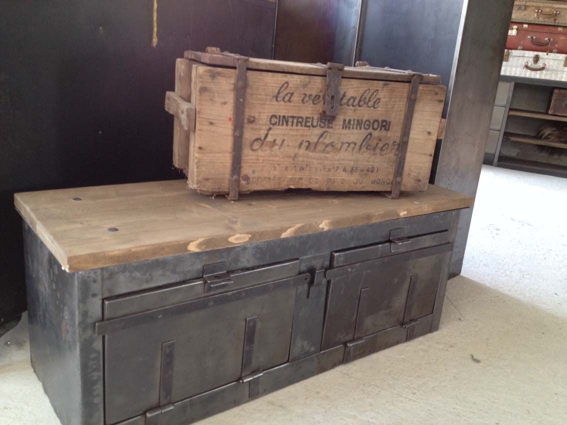 Meubles De Rangement Industriel Metal Bois Meubles De Rangement Mobilier De Salon Meuble Rangement