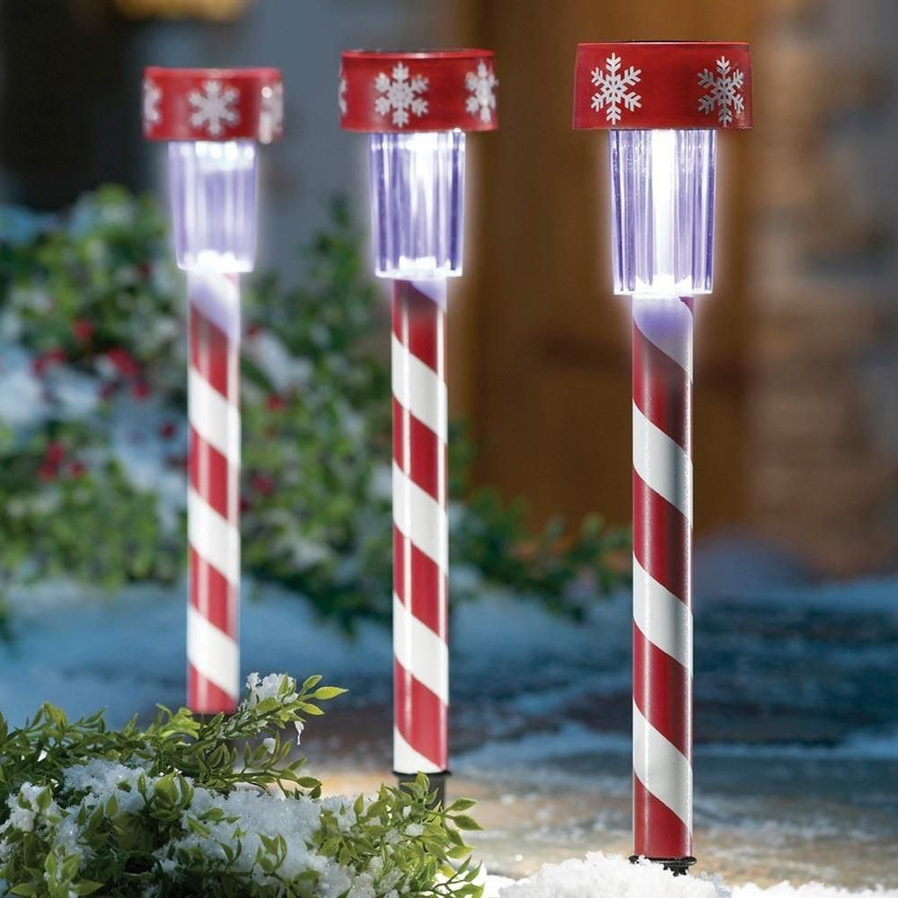 3 Christmas Peppermint Candy Cane Solar Light Stakes New