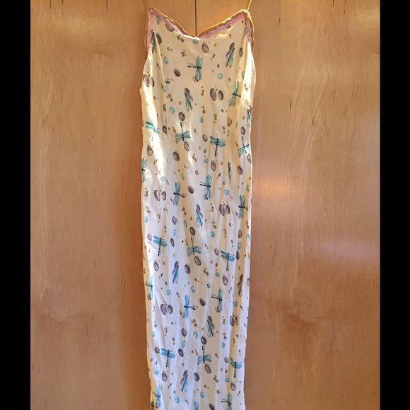 Voyage Slip dress Adorable slip dress with dragon fly pattern on cream back ground. Velvet ribbon detail. Voyage Dresses Maxi