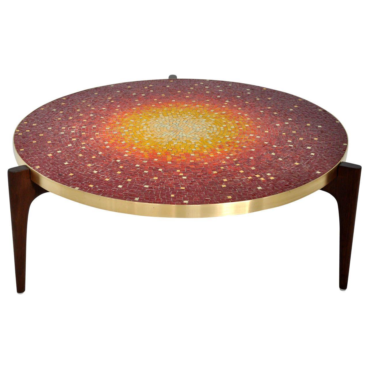 vladimir kagan mosaic coffee table brass band tables and mosaics