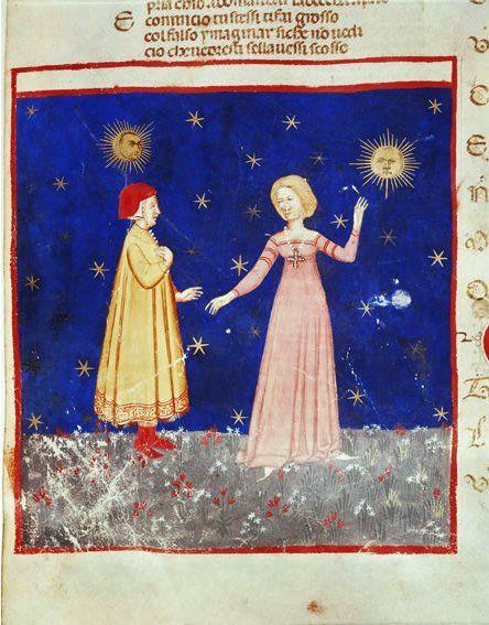 Incontro di Dante e Beatrice, miniatura del sec. XIV. Venezia, Biblioteca marciana