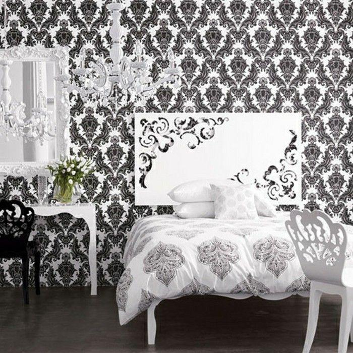 kreative wandtapeten in einem aristokratischen schlafzimmer