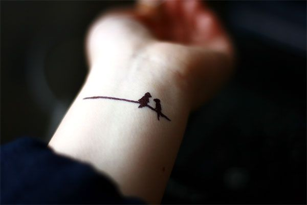 Two Birds On A Wire Tattoo I Love This Soooo Much Tiny Bird Tattoos Love Bird Tattoo Couples Tattoos