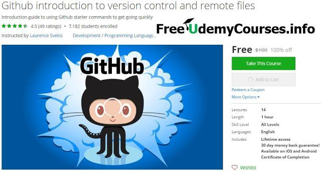 [#Udemy 100% Off] #Github introduction to version control and remote files   About This Course  Published 9/2015English  Course Description  Learn how to Github to push and pull content files.  We show you all the basic commands you need to know in order  http://xtremefreelance.com/