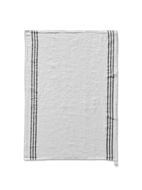 Off White Striped Pre Washed Linen Tea Towel Linen Tea Towel Washed Linen Linen