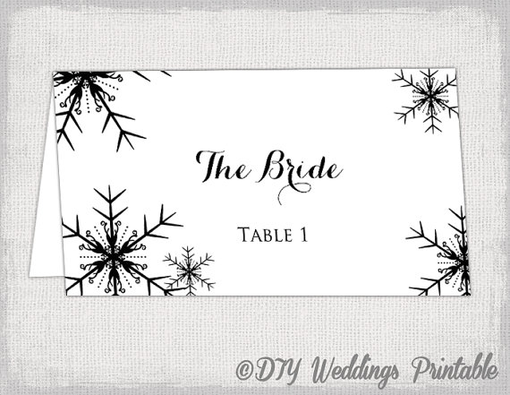 Printable Snowflakes place card template by diyweddingsprintable - place card template