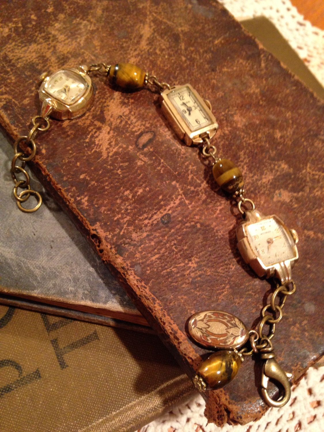 Antique and Vintage Watch Bracelet by PrairieLadyCottage on Etsy https://www.etsy.com/listing/258622599/antique-and-vintage-watch-bracelet