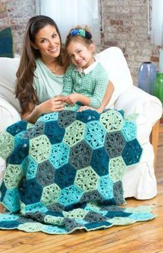 Flower Throw Free Crochet Pattern from Red Heart Yarns