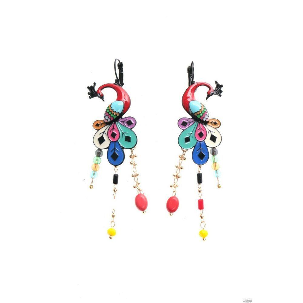 boucles d/'oreilles lolilota LOL bijoux paon jaune perles branche