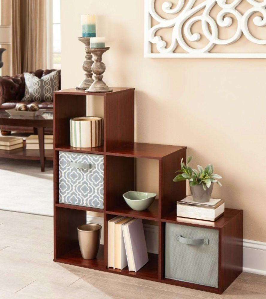 Bookcase Cube Storage Organizer 3 2 1 Bookshelf Racks Home Furniture Dark  Cherry. Details about Bookcase Cube Storage Organizer 3 2 1 Bookshelf