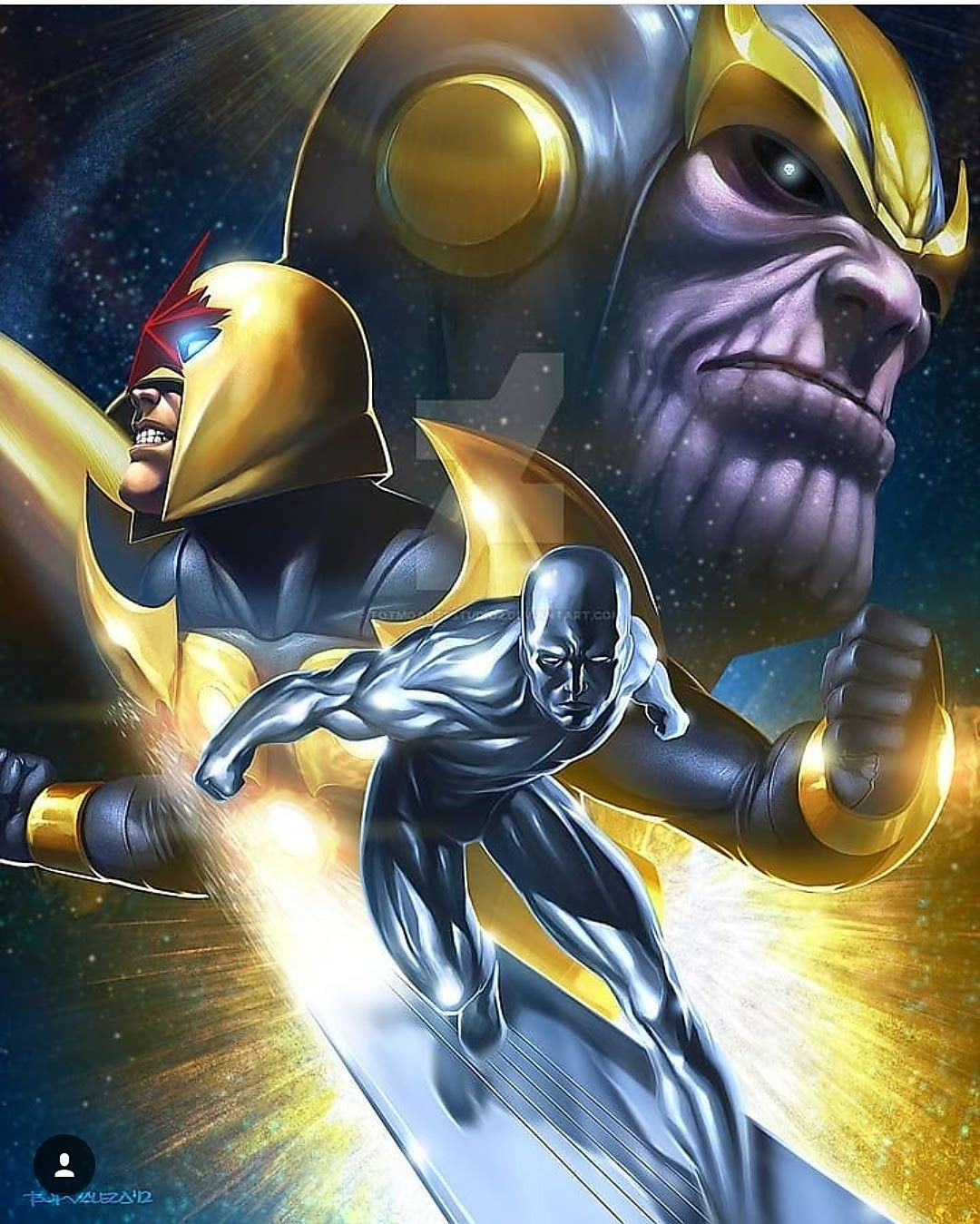 Silver Surfer, Nova & Thanos Marvel comics art, Silver