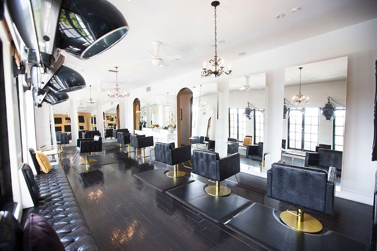 Beauty salon Black & Purple Hair salon interior, Beauty