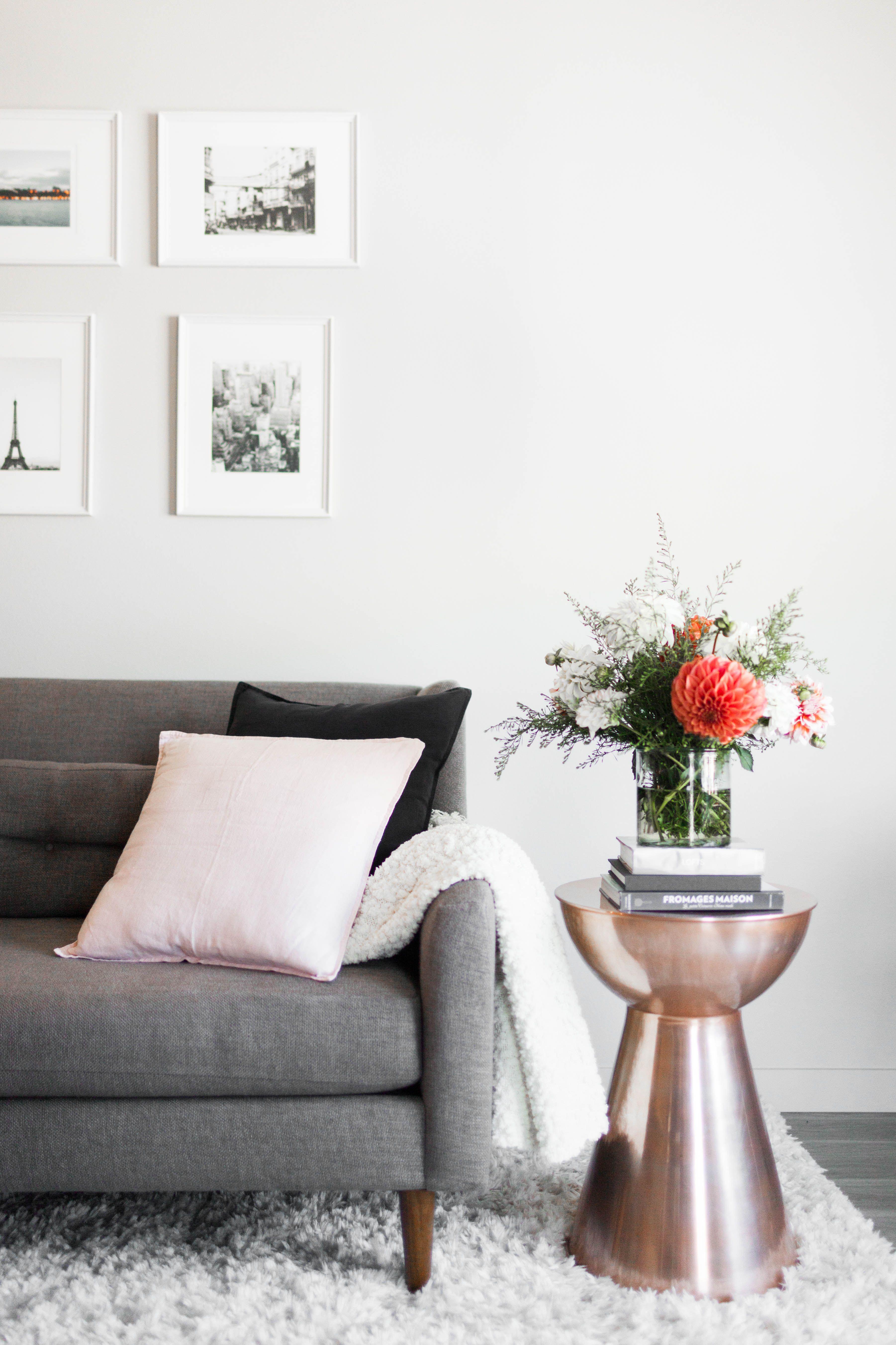 West Elm Crosby Sofa + Copper Side Table + Blush