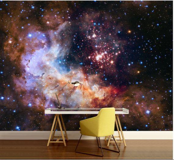 Galaxy Wallpaper Wall Mural Stars Nebula Wallpaper By 4kdesignwall Room Wallpaper Home Decor Mural