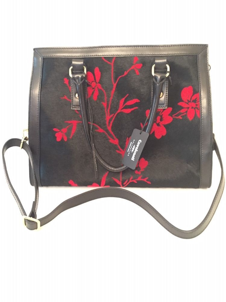 731e0a4ab7 Cavalcanti Calf Hair Leather Purse Bag with Floral Design Red and black   fashion  clothing  shoes  accessories  womensbagshandbags (ebay link)