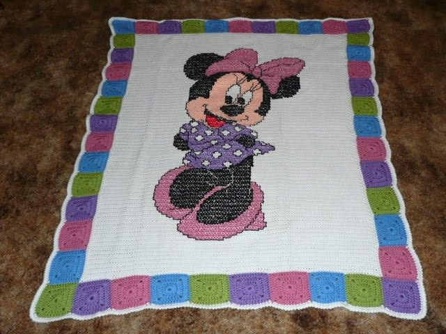 Disneys Minnie Mouse Crochet Afghan Blanket Throw - Beautiful Colors ...