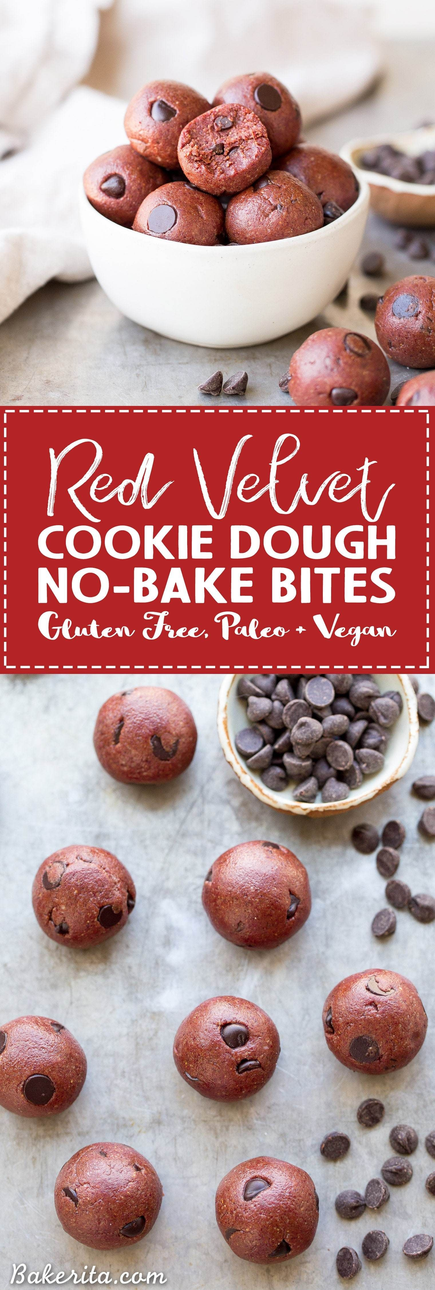 Red Velvet Cookie Dough Bites (Gluten Free, Paleo + Vegan) • Bakerita