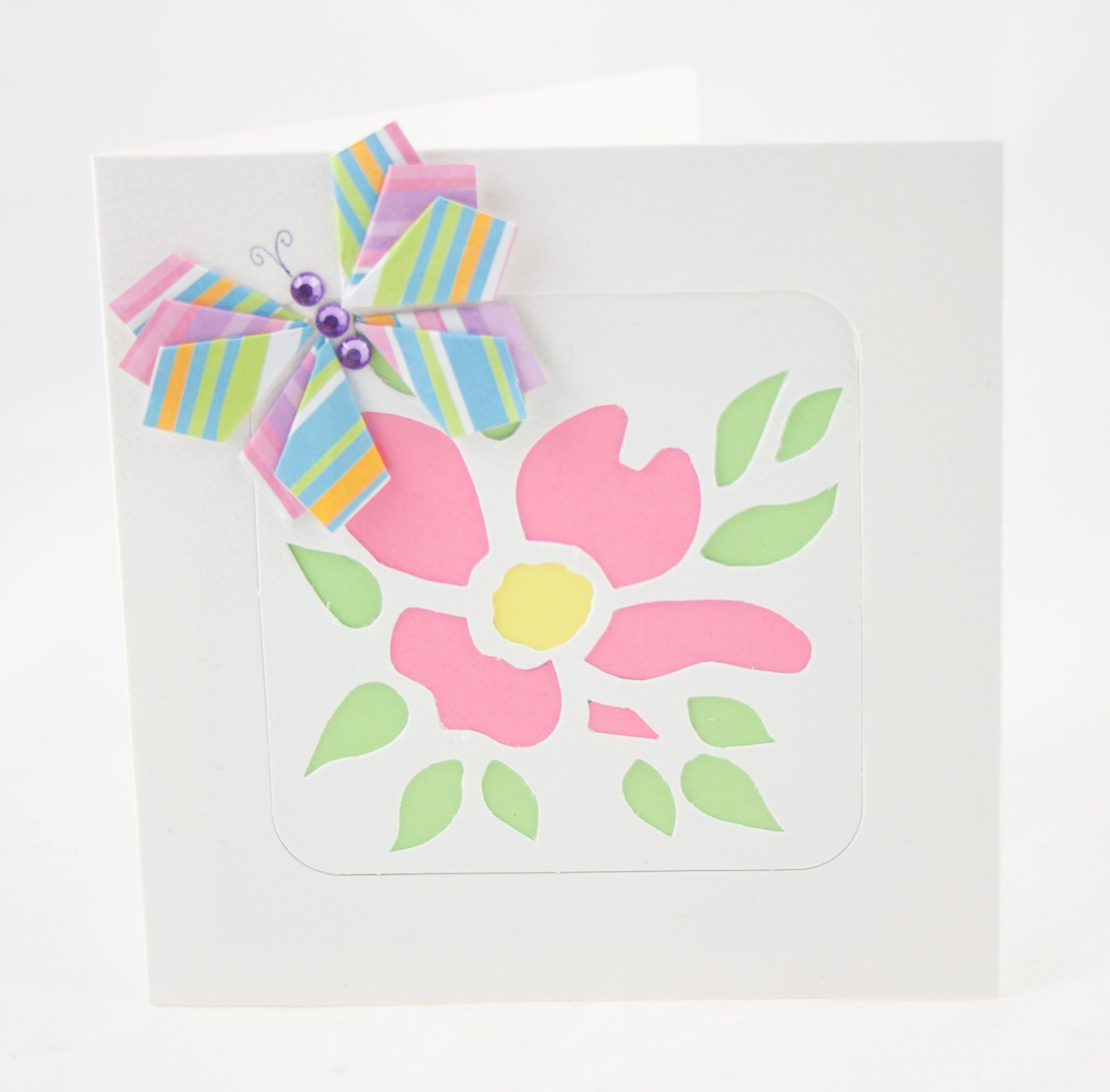 Handmade Birthday Card With A Stenciled Cut Flower And A Paper
