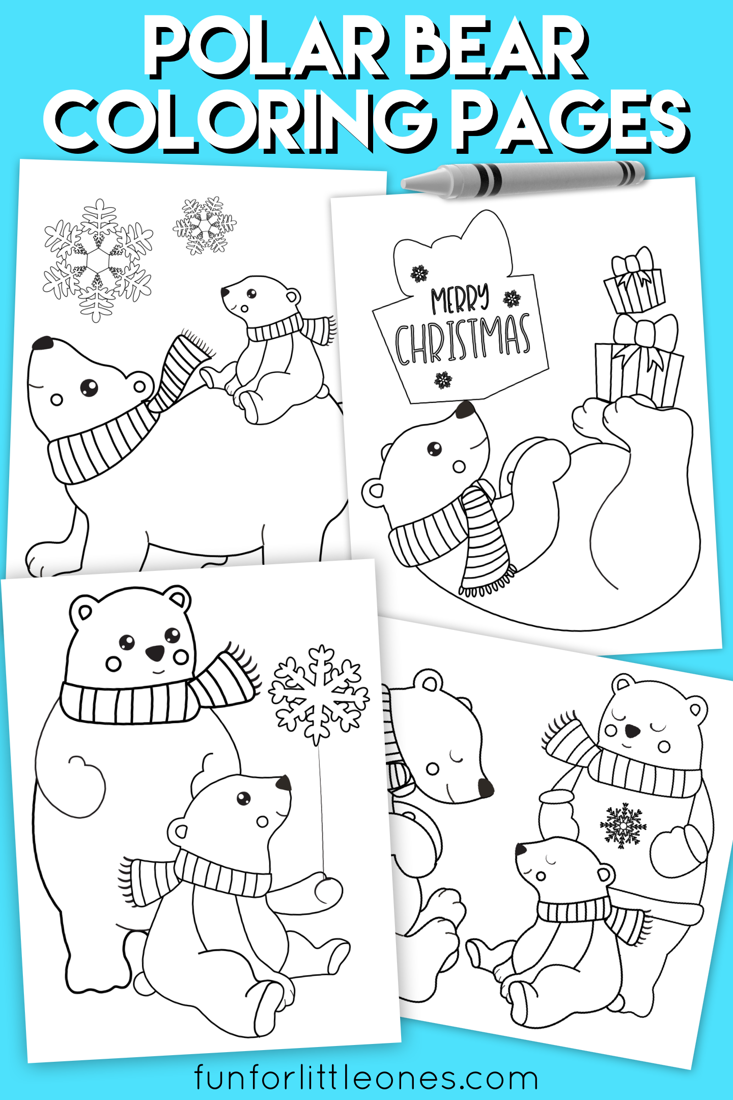 Polar Bear Holiday Coloring Pages For Kids Free Printable
