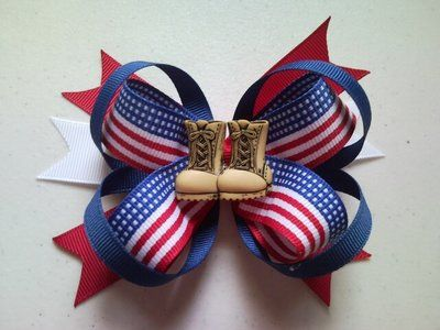 American Flag w/Military Boots Patriotic Hair Bow!! Loving this! Want one for my little girls!