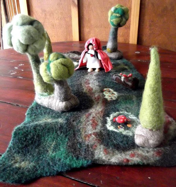 Little Red Riding Hood. Felted scene made by the Yallingup Steiner School craft group for annual fundraising auction.
