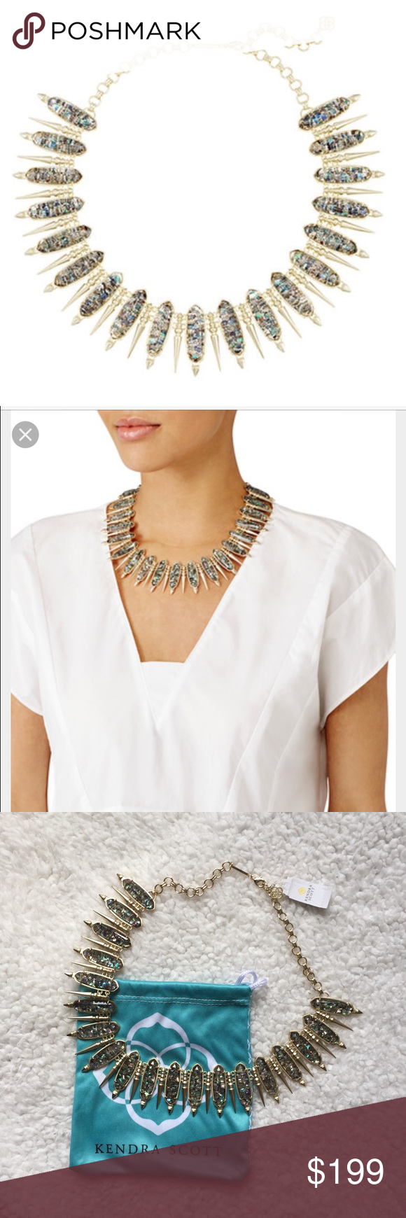 """Kendra Scott Gwendolyn Necklace Stunning statement necklace from Summer 2016 collection. Gold and crushed abalone shell. 18"""" long with 1.4"""" drop. New with tags, comes with the dust bag. You will absolutely love this piece! 💕 Kendra Scott Jewelry Necklaces"""