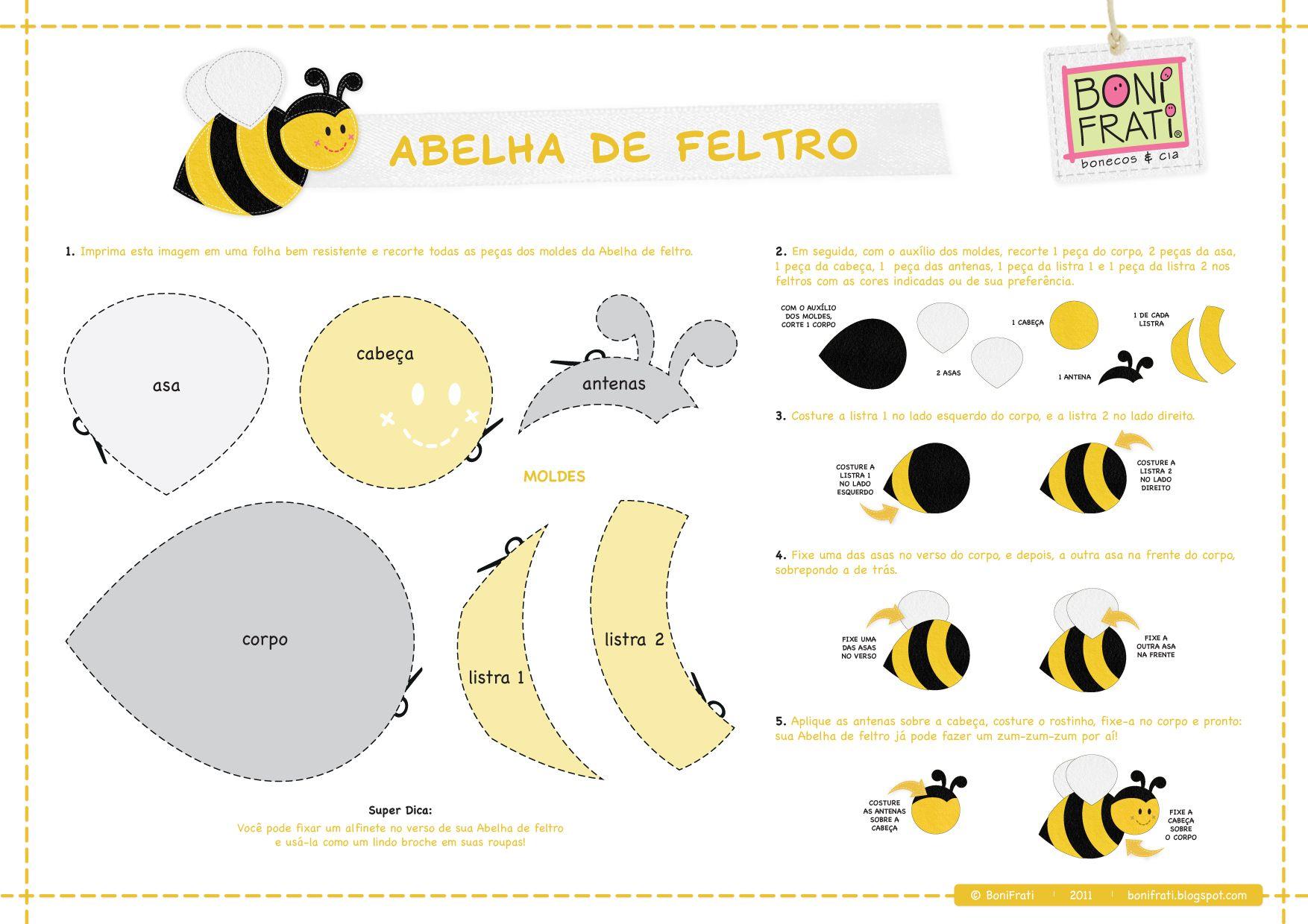Aparador Madera Acacia ~ molde abelha abelhinha Pinterest Abelhas, Tutoriais e Blog