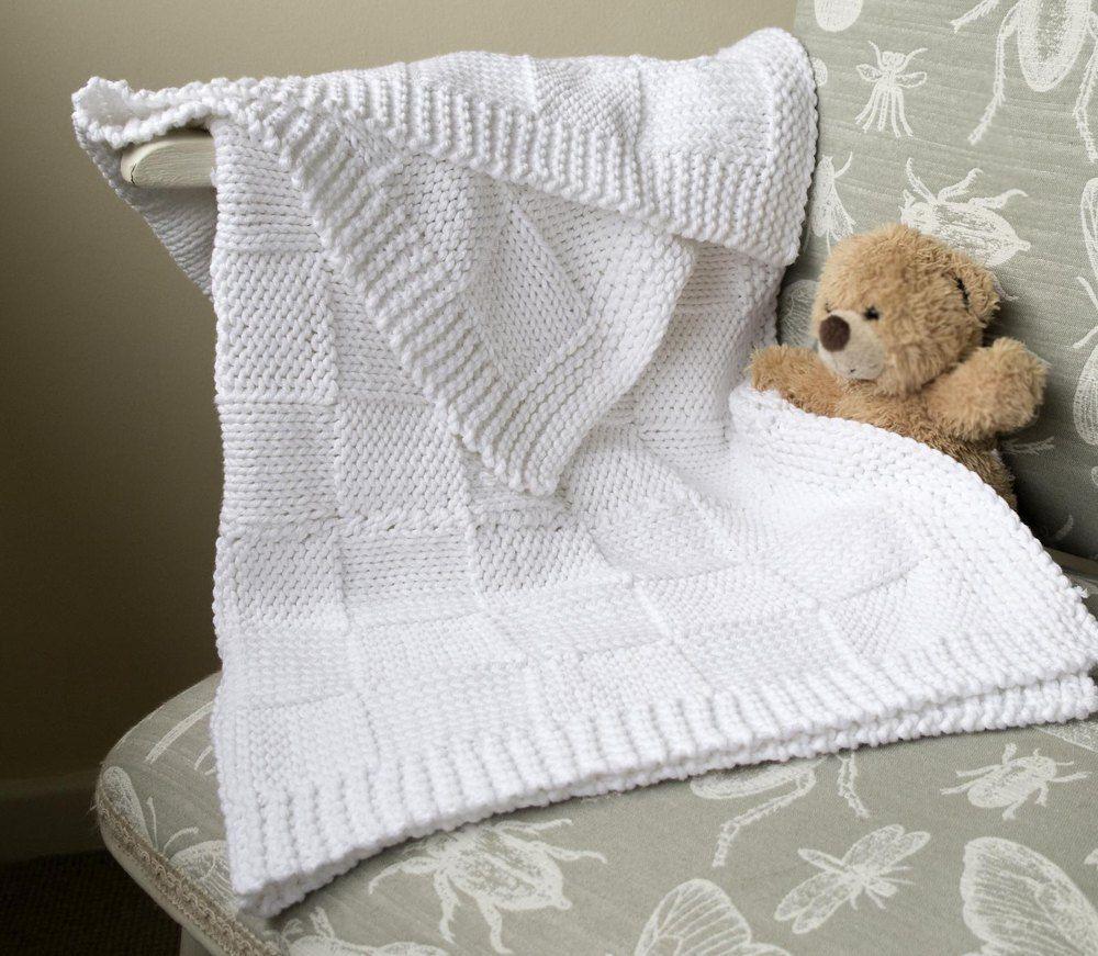 44ea01ccb513 Easy Baby Blanket - basket weave pattern