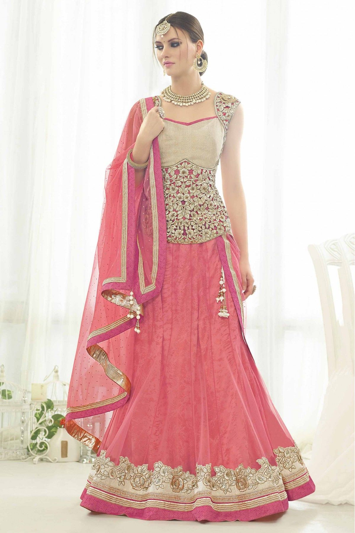 e0daa60bf17 Pink Colour Net Fabric Party Wear Lehenga Comes With Matching Silk and Net  Fabric Blouse. This Lehenga Is Crafted With Embroidery,Thread Work,Sequiens  Work ...