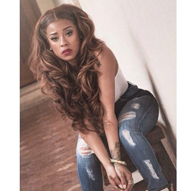 Keyshia cole celebrity brown blonde highlights curly wavy hair keyshia cole celebrity brown blonde highlights curly wavy hair long middle center part parting ripped jeans pmusecretfo Images
