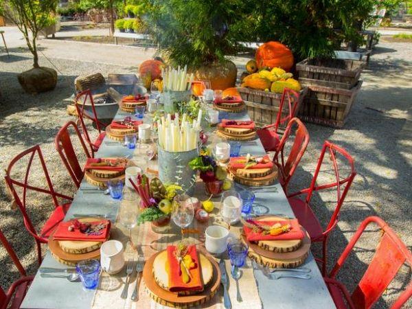 Garten Tischdeko Herbst Blumen Landhaus Stil Herbstdeko