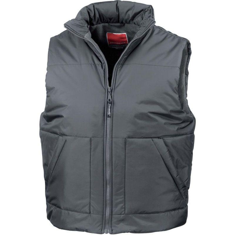 Warm Plain BLACK Fleece Lined Nylon Bodywarmer Gilet Vest Sleeveless Jacket