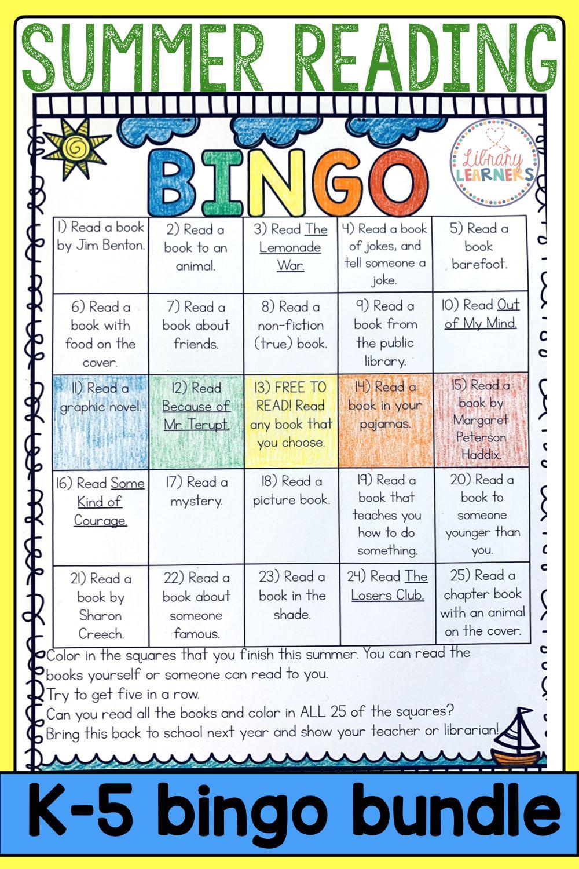Summer Reading Bingo Bundle Kindergarten Through 4th Grade Library Lessons Library Lesson Plans Reading Bingo Fun reading lesson plans for grade