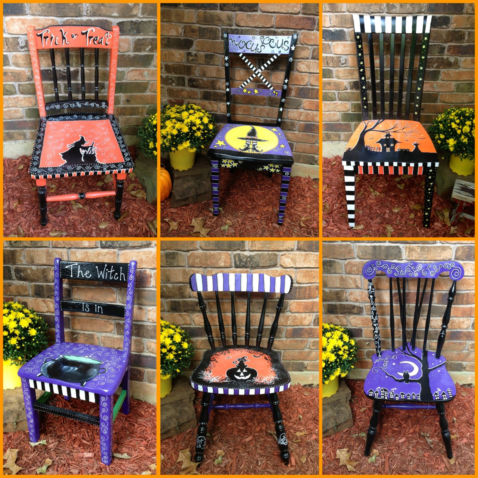 These are chairs that I painted to sell at my booth for Halloween ...
