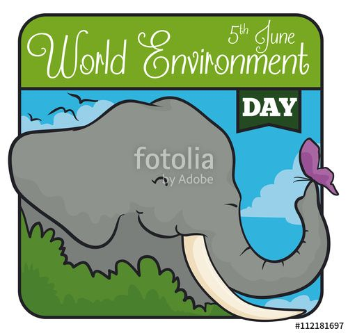 Elephant behind a Bush with a Butterfly in World Environment Day