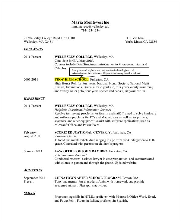 impressive high school student resume for collegeg template free - resume after college