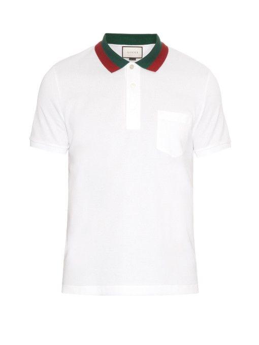 b6f27c525 GUCCI Contrast-Collar Cotton-Blend Piqué Polo Shirt. #gucci #cloth #shirt