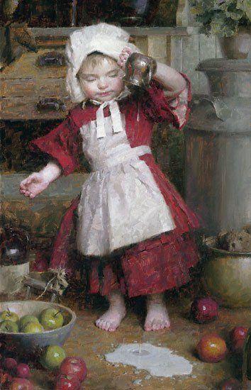 Morgan Weistling 1964 | American Romantic painter / illustrator - Spilled Milk