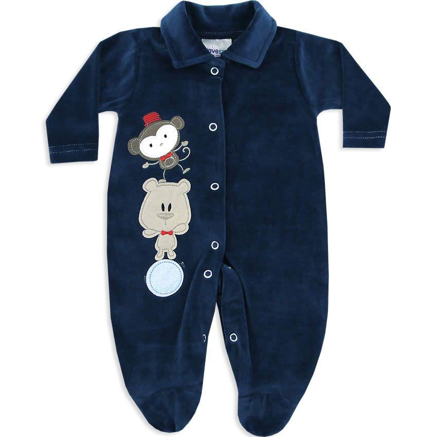 Macacão de Plush para Bebê e Recém Nascido Menino Marinho - Travessus     764 Kids  cb3c0e8c9db
