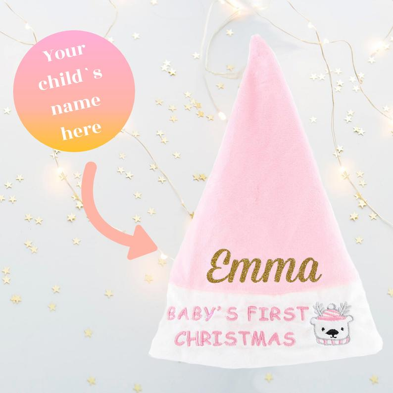Personalised Baby Girl My First Christmas Santa Hat Baby