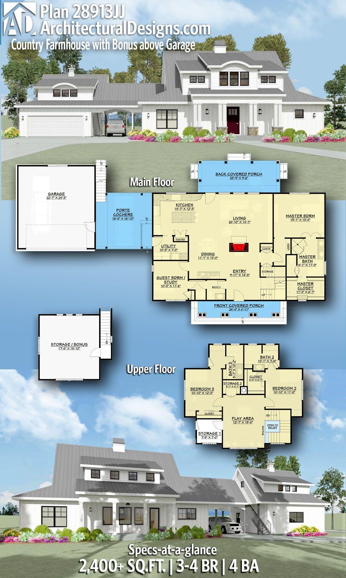 Plan 28913jj Country Farmhouse With Bonus Above Garage House Plans Farmhouse Dream House Plans House Plans