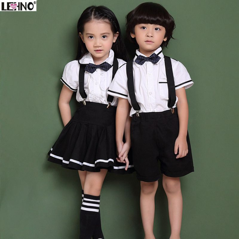 ffd527fa90 Korean Style Kids School Uniforms Children Cotton Short Sleeve Suit Show  Choral Clothes Spring Summer Shirt+Strap dress 3t-12y