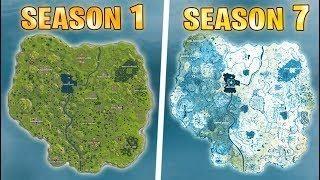Evolution Of The Entire Fortnite Map Season 1 To Season 5 Update