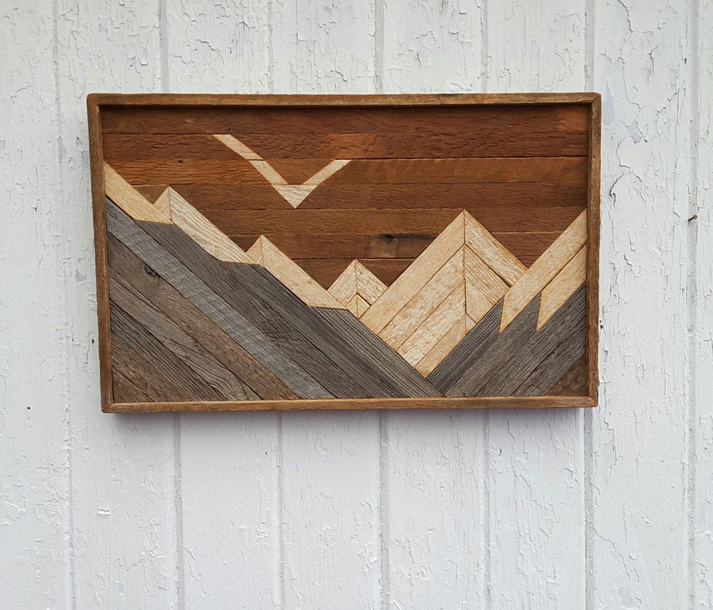 Reclaimed wood wall art mountains decor lath art