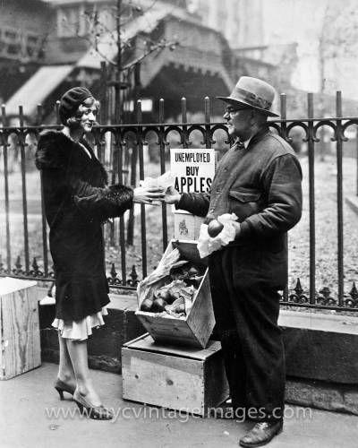 Depression Era Apple Seller at Broadway and W. 32 Street, c. 1930