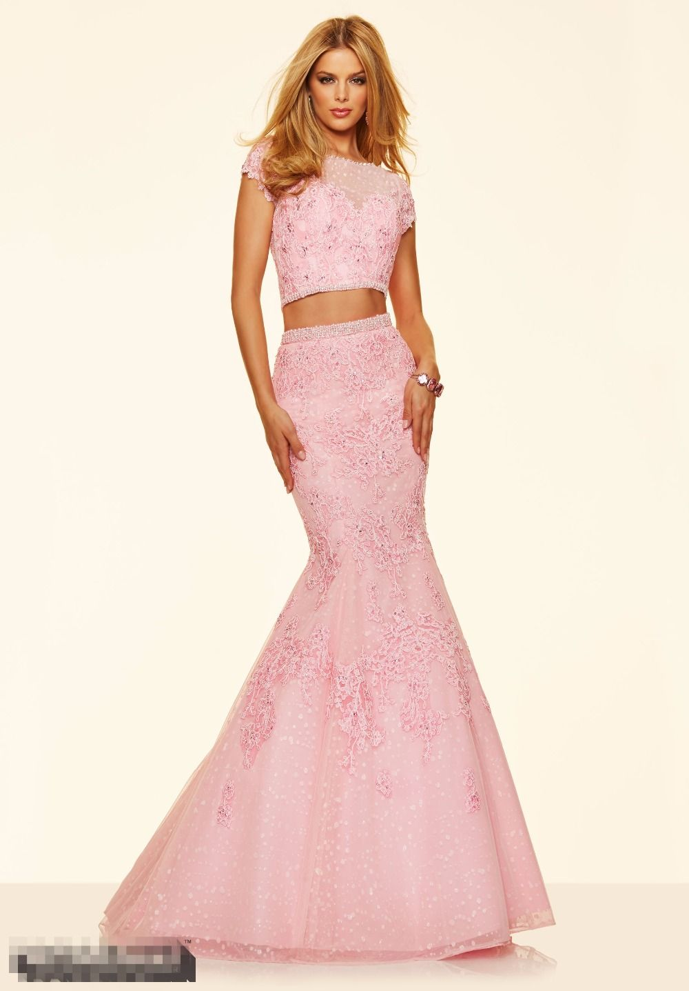 Click To 2016 Pink Two Pieces Lace Mermaid Prom Dresses Cap